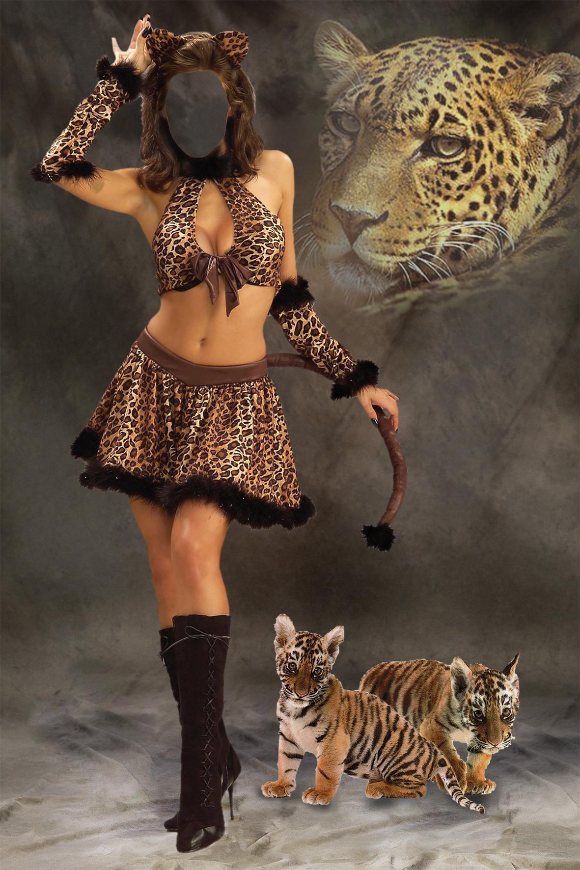 Женщины тигры фотошопа 6